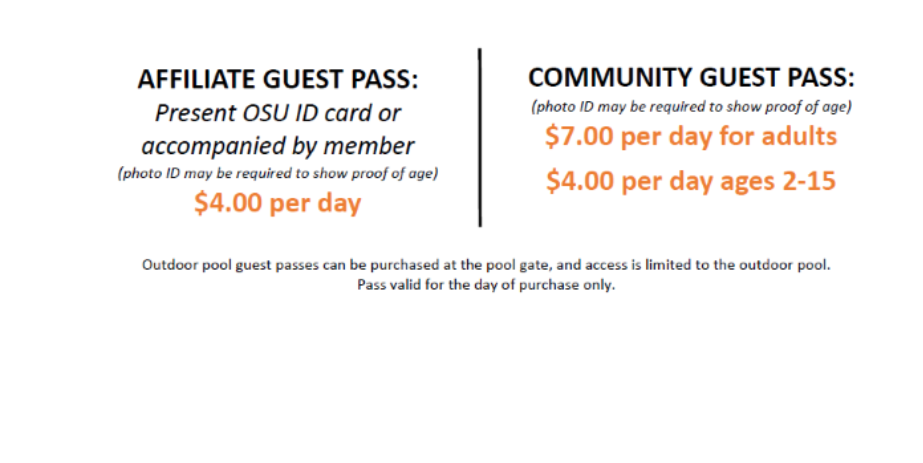 Outdoor Pool Guest Pass details